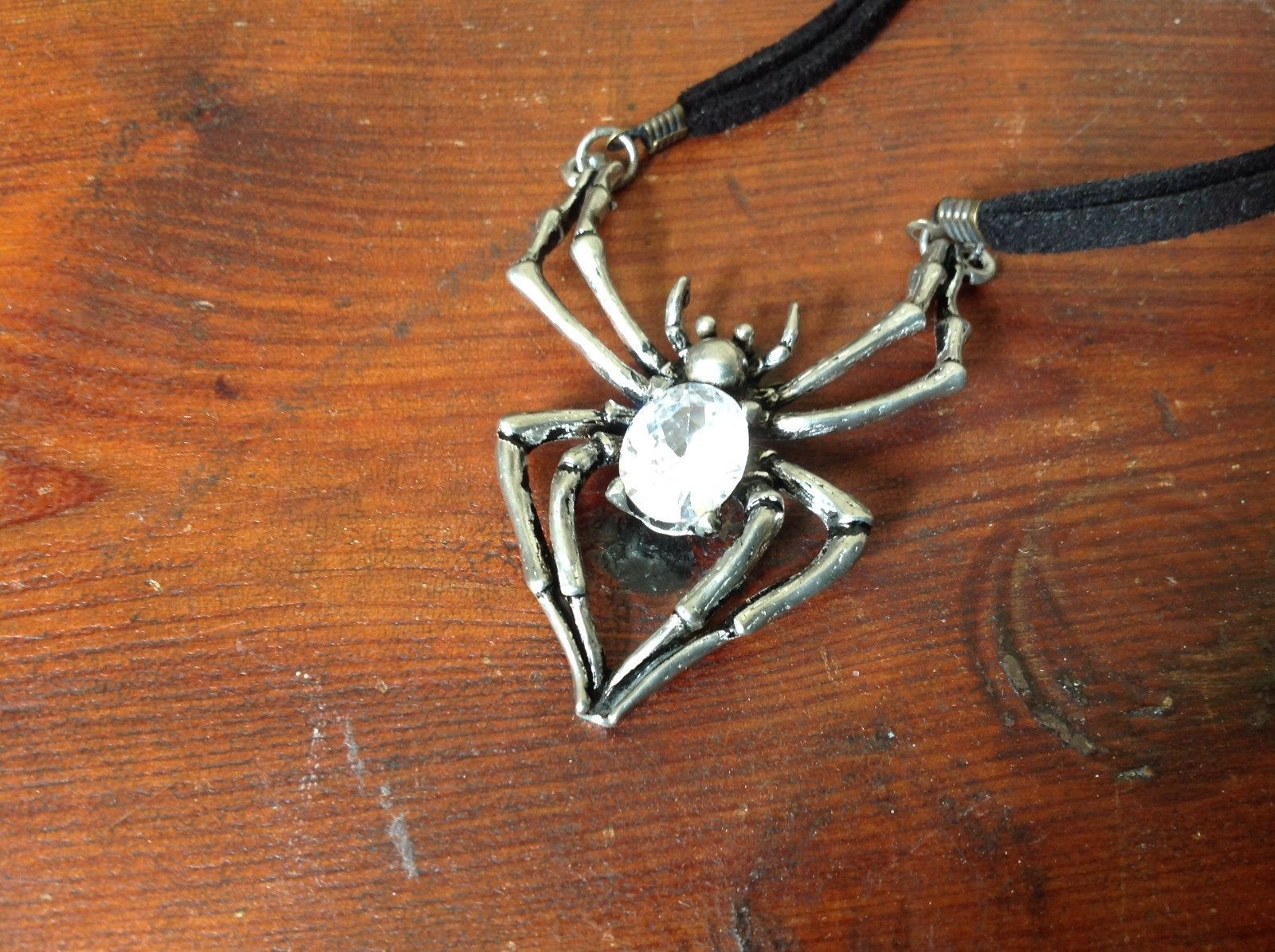 Silver Spider Pendant w crystal Necklace Leather Strap Lobster Clasp Silver Tone