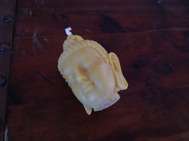 New Unique Yellow  Buddha Head Pure Bees Wax Candle 4 Inches High image 3