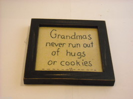 New primitive embroidered framed Grandmas never run out of hugs or cookies image 2