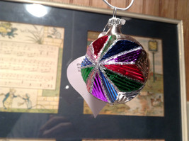Silver Tone Colorful Star with Glitter German Christmas Glass Tree Ornament