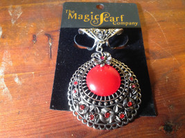 Silver Tone Scarf Pendant with Large Red Stone and Small Red Crystals