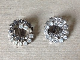 Silver Tone Clip On Earrings Inlaid with Swarovski Clear Gray Crystals