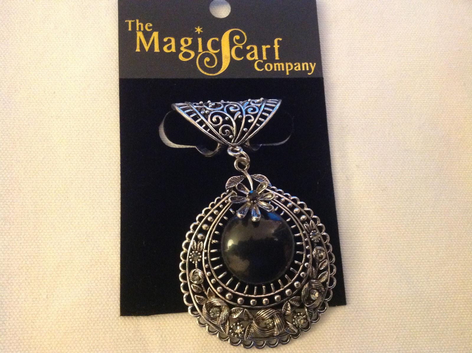 Silver Tone Filigree Design Silver Tone Black Stone Clear Crystal Scarf Pendant