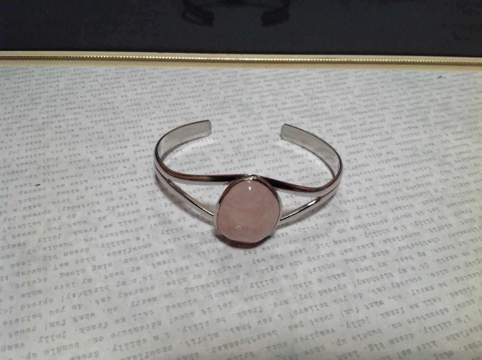 Silver Tone Geo Jewelry Bracelet with Light Pink Stone Oval Shape