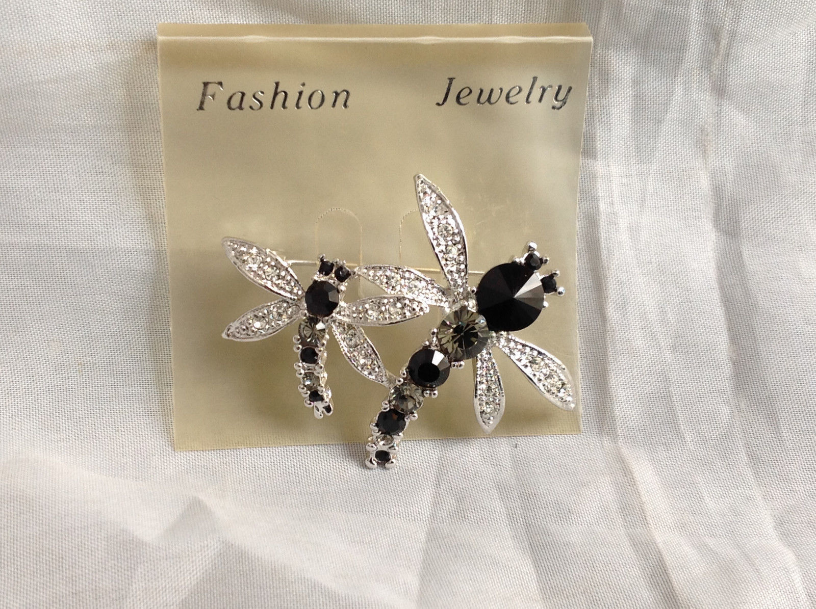 Silver Tone Double Dragonfly Crystal Brooch/Pin Black Clear Stones Pin Closure