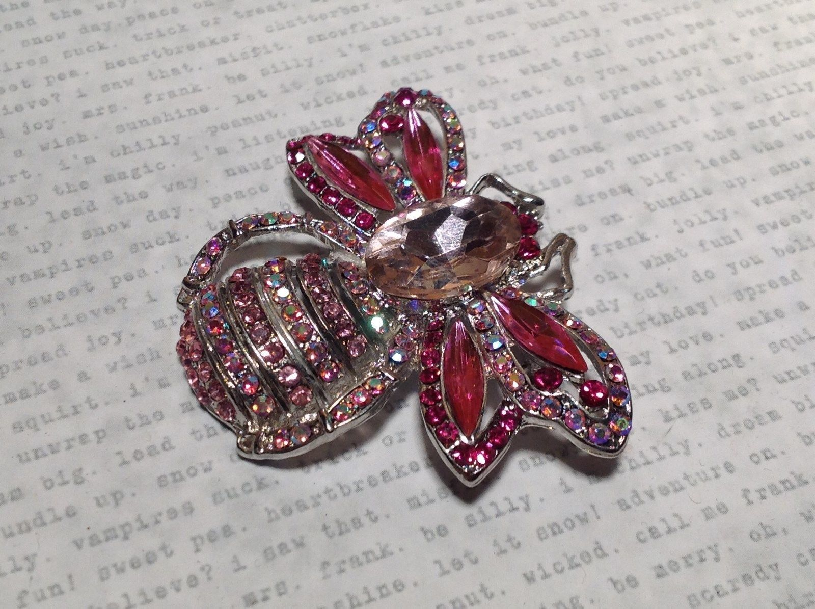 Silver Tone Swarovski Inlaid Pink Bee Brooch Pin Light and Dark Pink