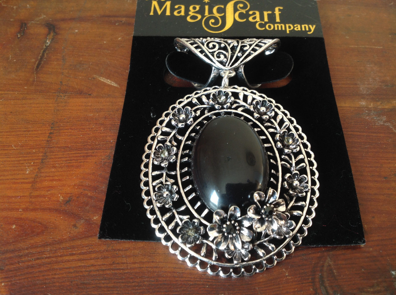 Silver Tone Scarf Pendant with Large Black Oval Stone and Crystals Beads Flowers