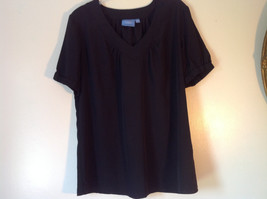 Simply Vera Plain Black Short Sleeve Top 100 Percent Polyester Size Large