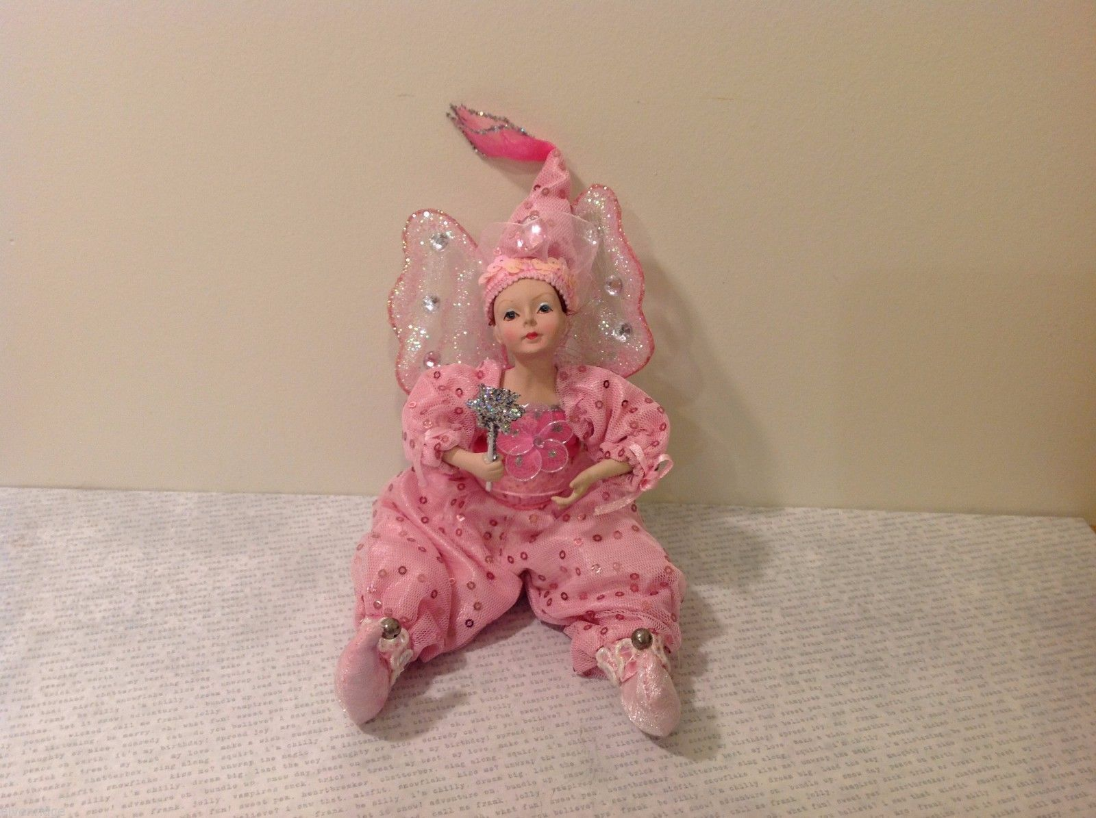 Sitting Pink Fairy Ceramic Face Body Hat Wand Long Hair