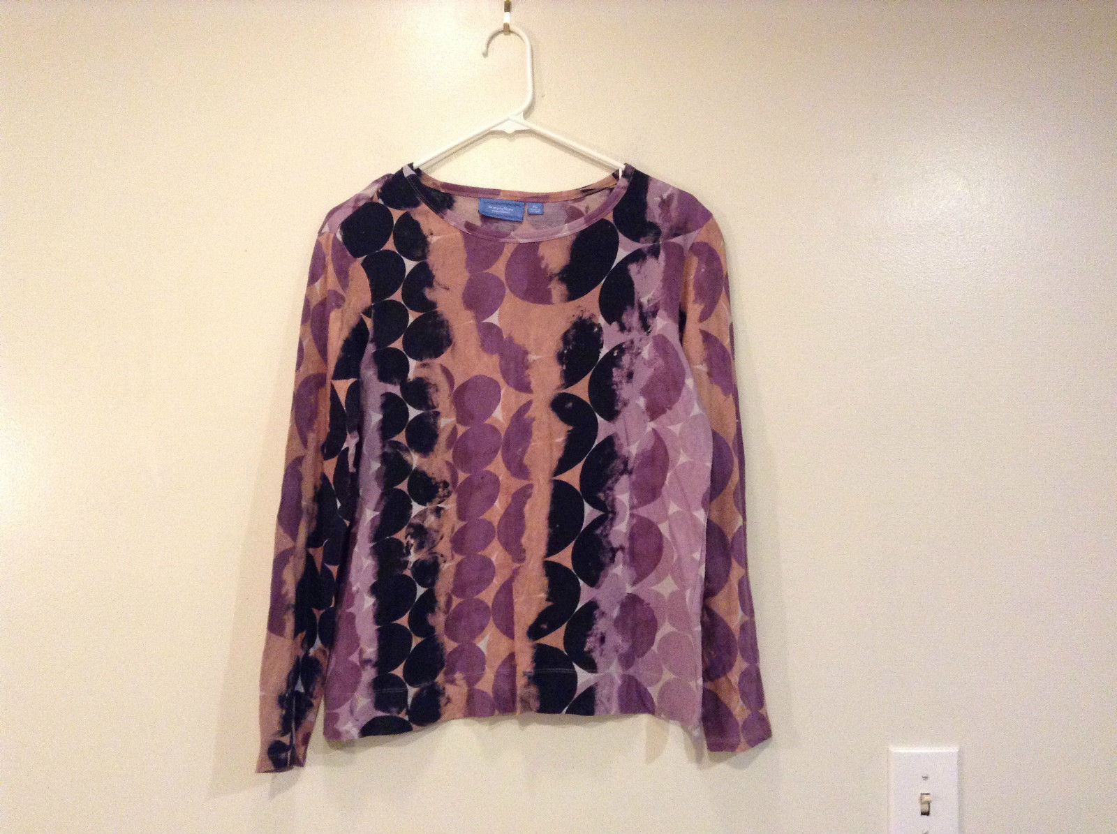Simply Vera Vera Wang Long Sleeve Violet Black Beige Circles Cotton Top Size PL