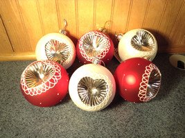 Six Piece Holiday Tree Ornament Set Red White Melrose Heart Indents Reflective