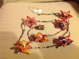 Six Fabric Elephants in Festival Star Strand w Beads and Bell String Connector