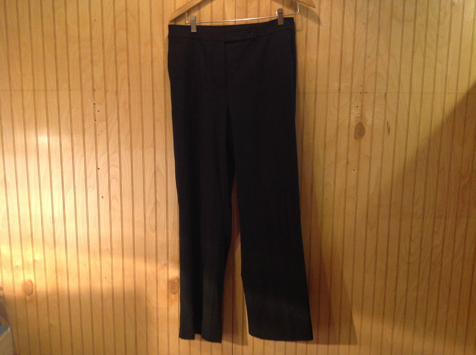 Size 10 Ann Taylor Black Dress Pants Button Zipper Front Closure Good Condition