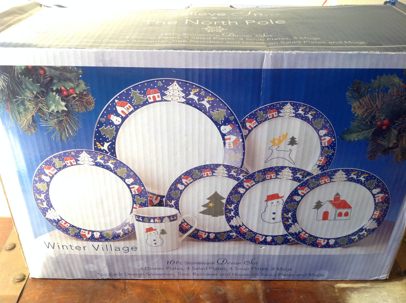 Sixteen Piece Stoneware Dinner The North Pole Snowman Tree Reindeer House set