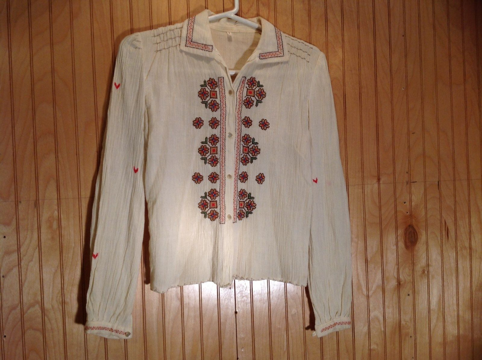 Size 1 Long Sleeve Button Up Off White Shirt Stitched on Designs