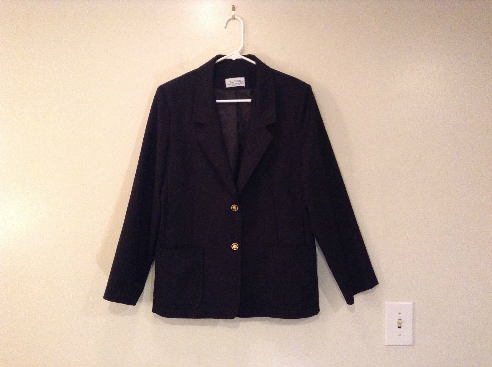 Size 12 Black Cape Code Jacket Match Mates Stretch Fabric Unlined