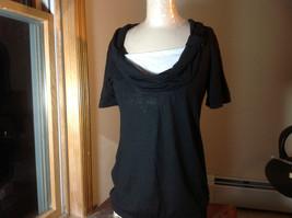 Sixteen Black Short Sleeve Top White Layer Under Low Gathered Neckline Size L