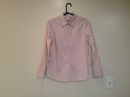 Size 12 Charter Club Long Sleeve Button Up Shirt White Pink Tan Brown Stripes