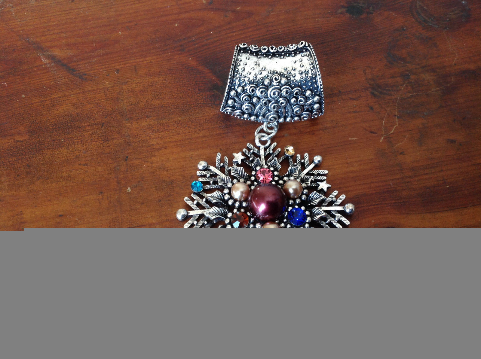 Silver Tone Snowflake Inlaid with Multicolored beads and Crystals Scarf Pendant