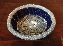 Silver and Dark Blue Beaded Woven Metal Wire Bowl