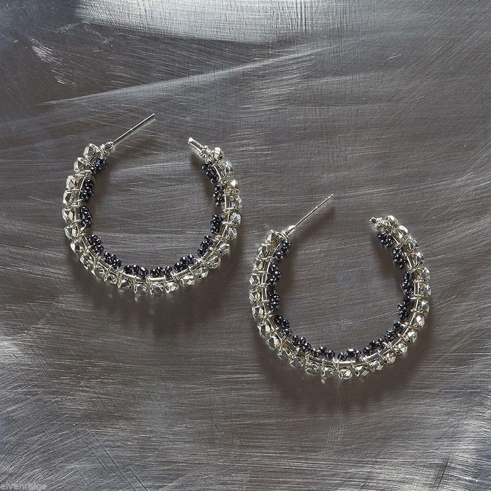 Silver and hematite seed bead silver metal hoop earring