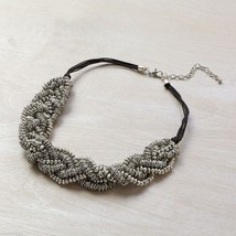 Silver bead cluster statement necklace