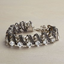 Silver chain stone bracelet w antiqued finish silver chain