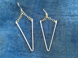 Silver Wire Spike w gold chain Zina Kao Handmade Earrings Made in USA