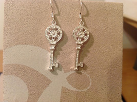 "Silver plated with clear crystals Key dangling earrings, 1-1/4"" long"