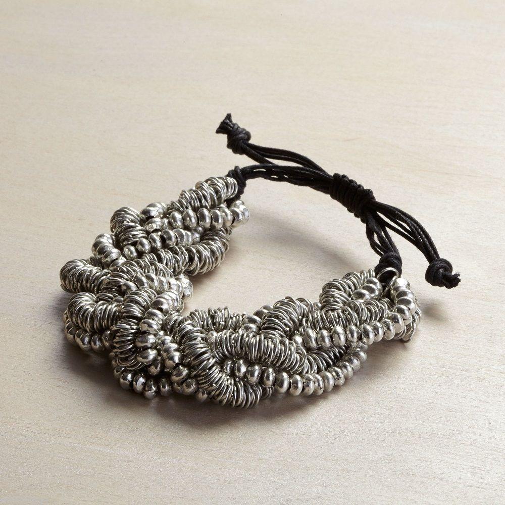 Silver bead cluster multi strand statement bracelet