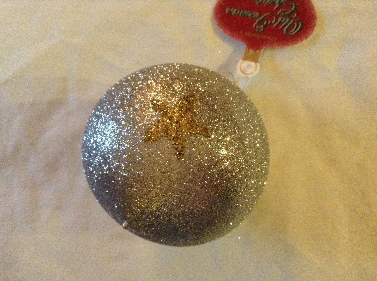 Silver glitter round Glass Ornament Old German Christmas w gold glitter stars