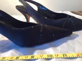 Nina Pure Black High Heels Closed Toe Formal Black Sparkles Pointed Toe Size 7.5 image 7
