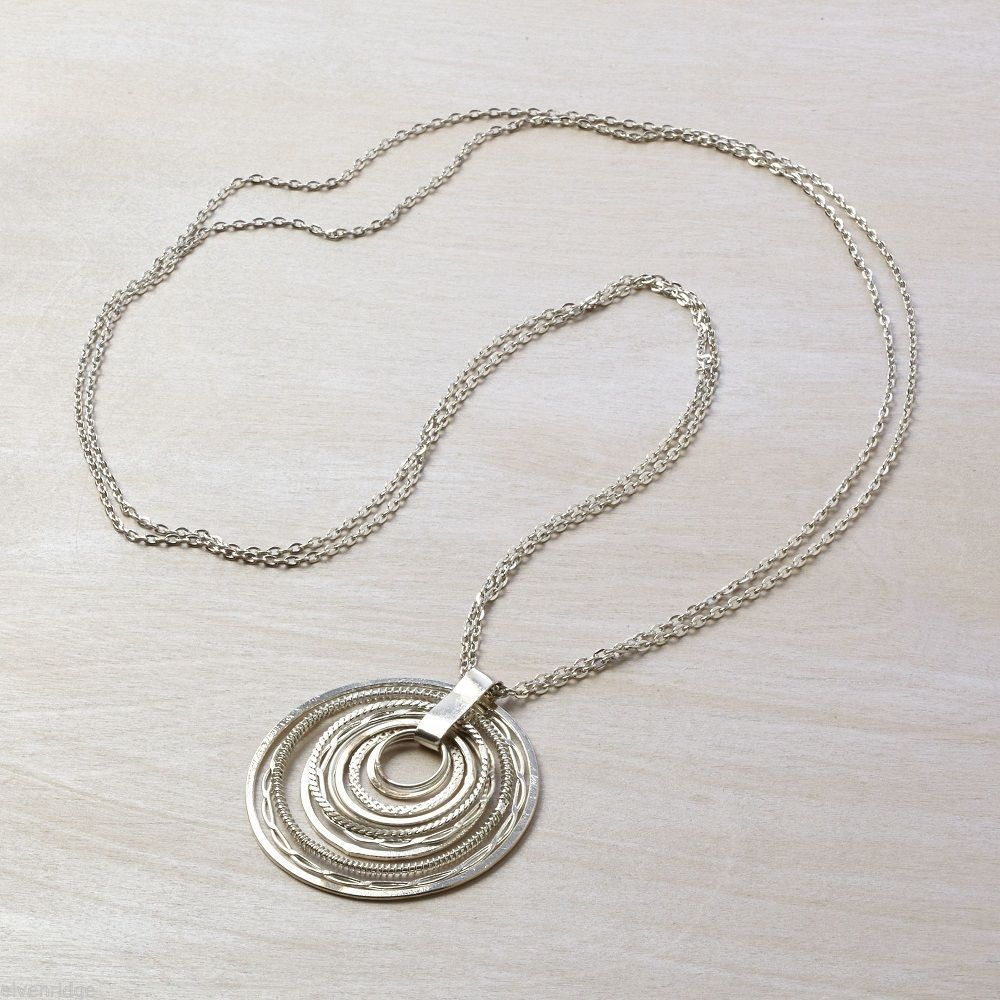 Silver tone multi hoop pendant statement long necklace