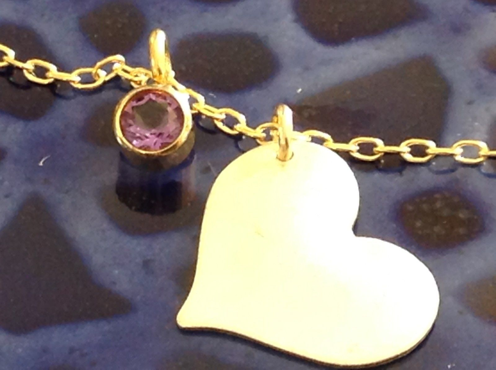 Silver with Gold Chain Flat Heart And Gem Handmade Necklace February Amethyst