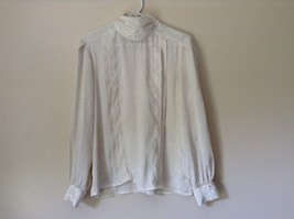 Nilani Vintage Off White Blouse 100 Percent Polyester Button Up Size 12 image 6