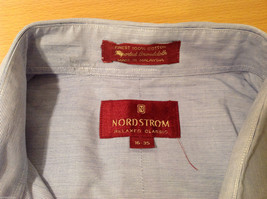 Nordstrom Light Blue Tiny Stripes Long Sleeve Shirt, Size 16/35, 100% cotton image 6