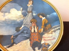 Norman Rockwell Limited Edition Plate Waiting on the Shore Official Seal on Back image 2