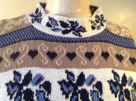 North American Sweaters Blue White Gray Design Hearts Stripes Long Sleeve image 2