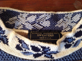 North American Sweaters Blue White Gray Design Hearts Stripes Long Sleeve image 6