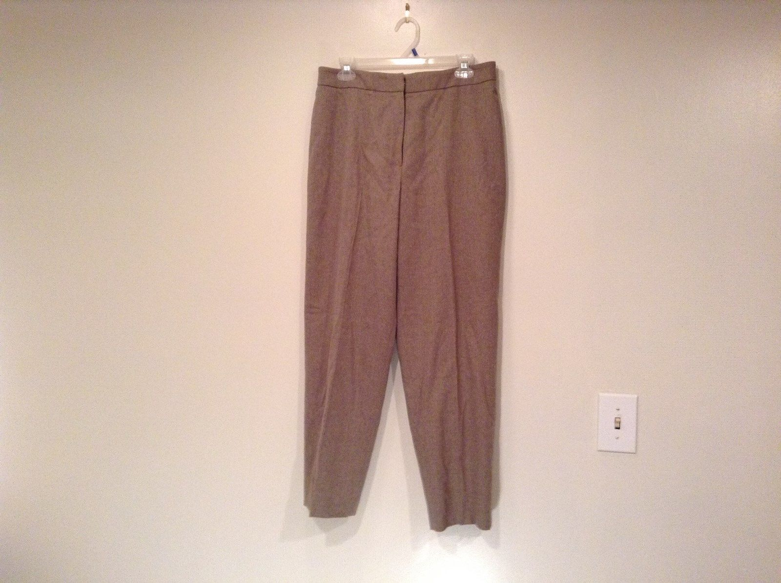 Size 12 Talbots Petite Stretch Tan Light Brown Lined Dress Pants Wool Blend