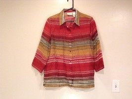 Size 16 Alfred Dunner Collared Button Up Front Shirt Multicolored Pattern