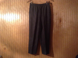 Size 12 Petite Briggs Casual Pants Elastic Waist Gray with Light Gray Stripes