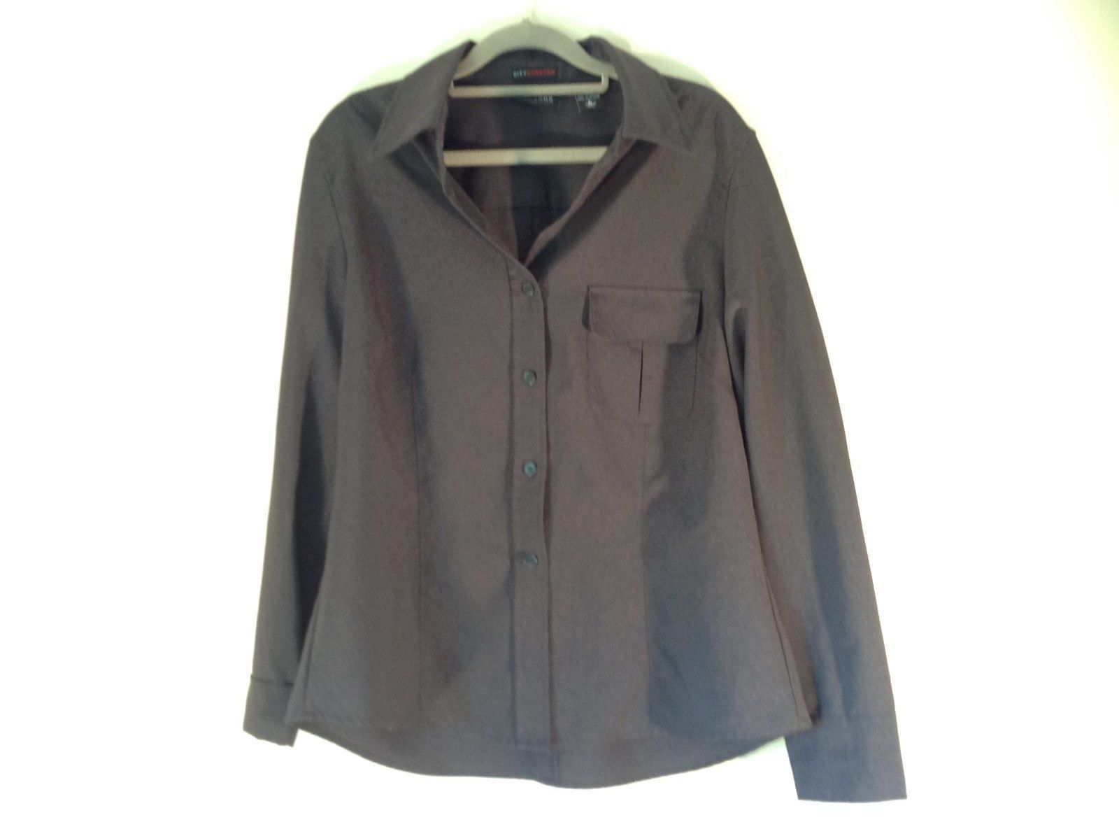 Size Large New York and Company Long Sleeve Button Up Charcoal Black Blouse