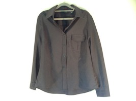 Size Large New York and Company Long Sleeve Button Up Charcoal Black Blouse image 1