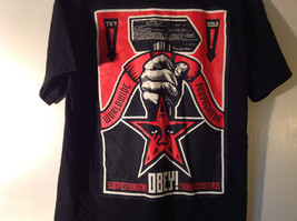 OBEY Black T Shirt White Dostain Picture on Front Red Star Fist Size Medium image 3