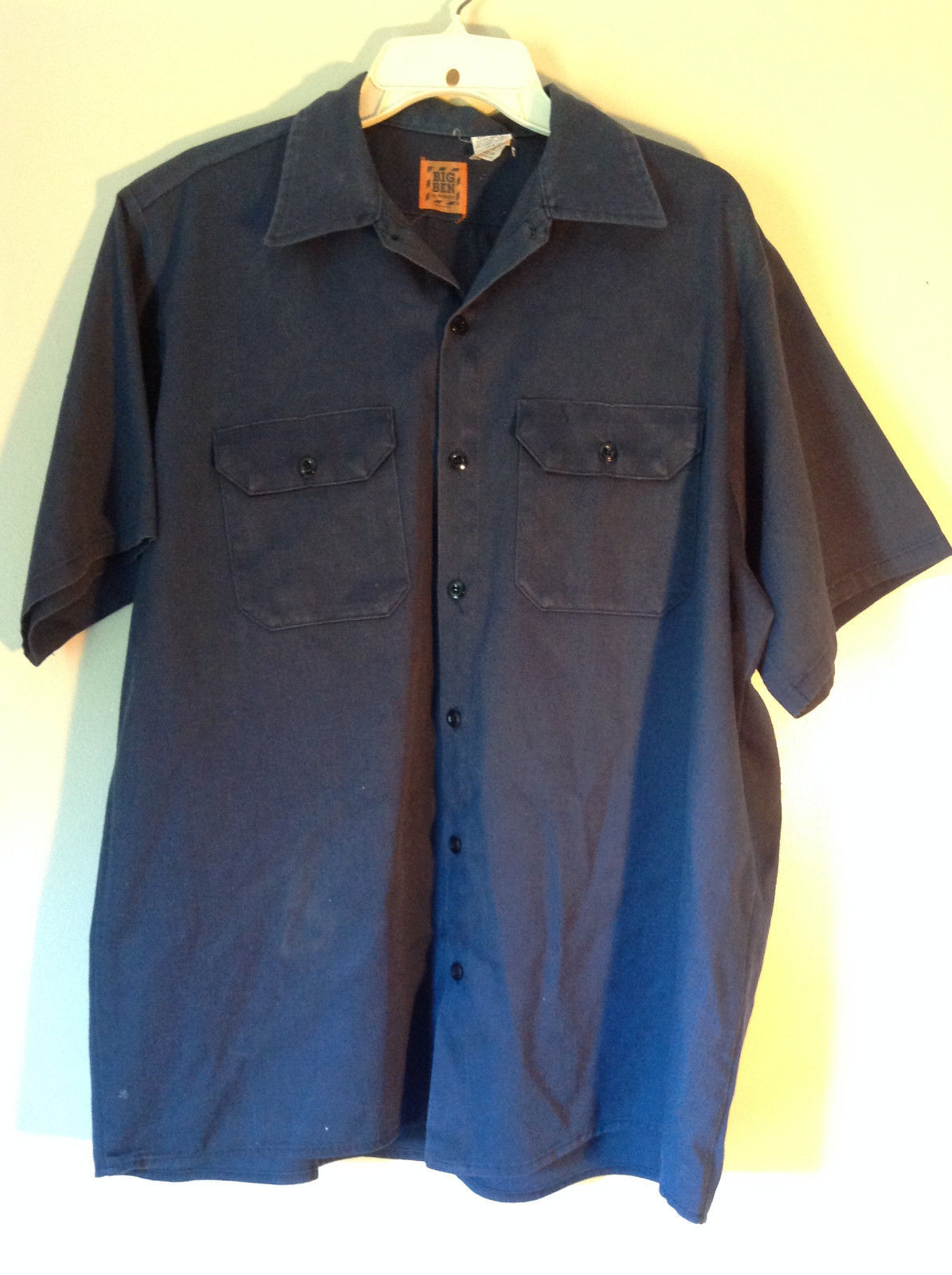 Size Large Short Sleeve Blue Button Up Shirt by Big Ben Two Pockets Made in USA