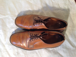 Size 9 Brown Leather Tied Formal Shoes Old Style One Inch Heel
