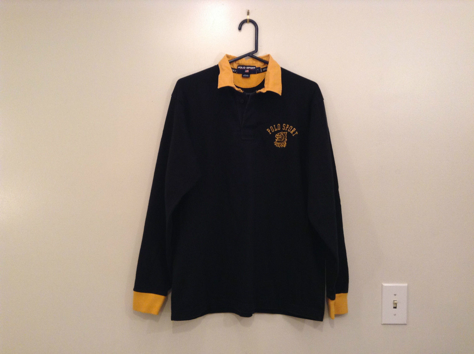 Size L Ralph Lauren Cotton Long Sleeve Black with Yellow Collar and Cuffs