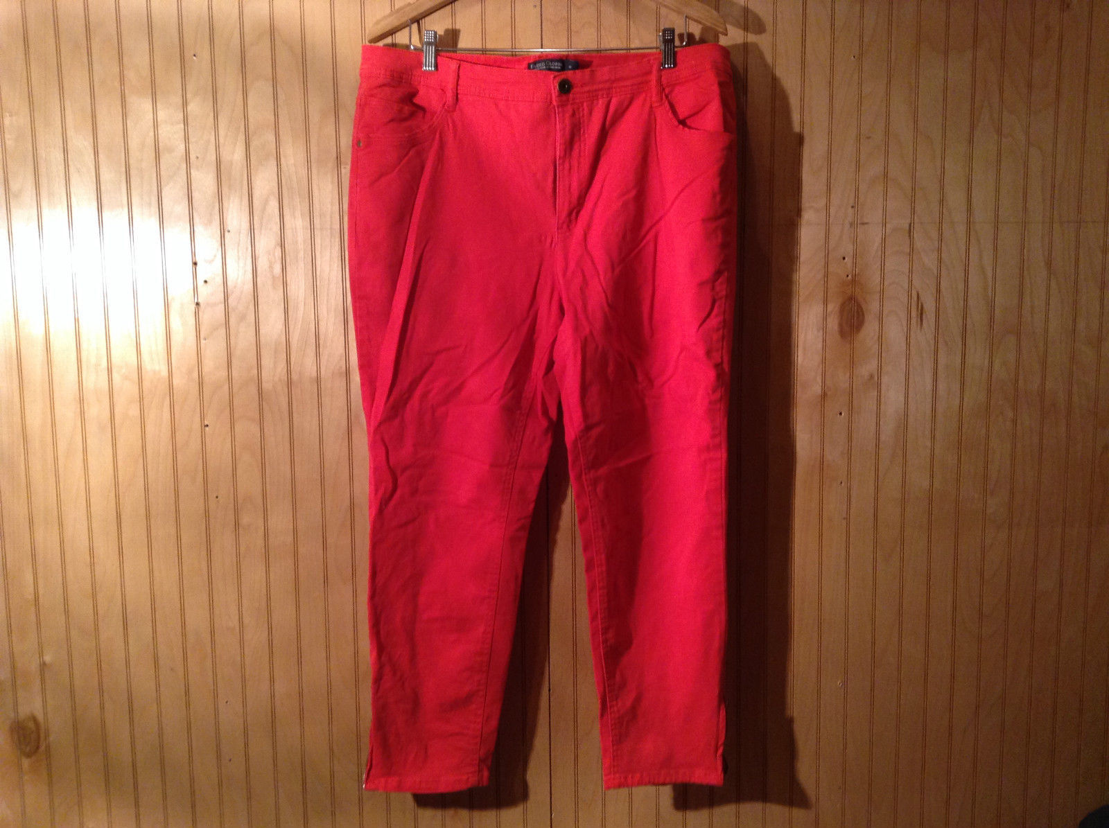 Size 18 Faded Glory Red Casual Pants Front Back Pockets Zipper Button Closure