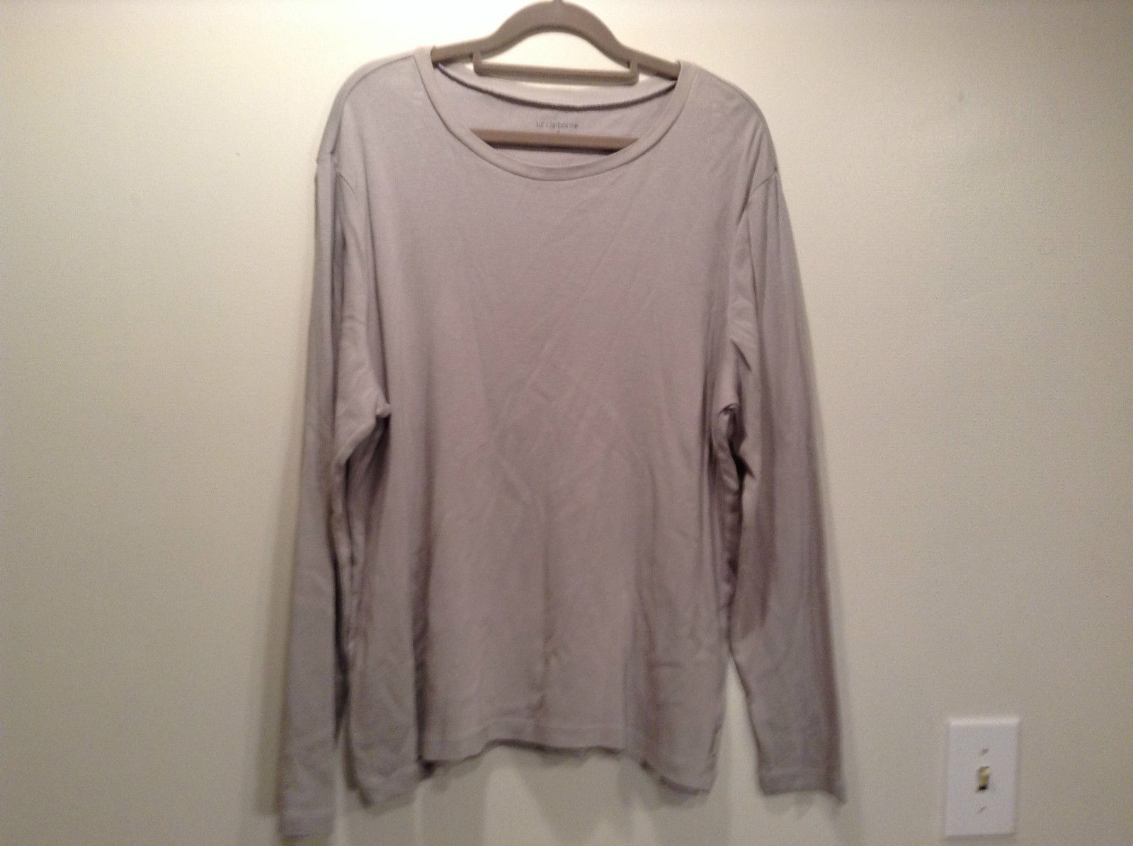 Size 1X Liz Claiborne Long Sleeve Gray 100% Cotton Scoop Neck Top Stretchy